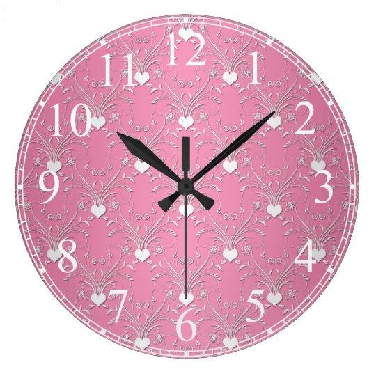 Sweet Pink Hearts Damask Floral Pattern Wallclocks