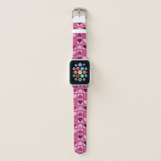 Sweet Pink Hearts Pattern Apple Watch Band