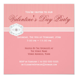 Sweet Pink Jewel Valentine's Day Party Invitation