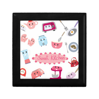 Sweet pink kitchen electricity and tool cute icon gift box