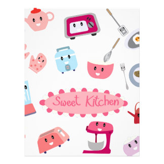 Sweet pink kitchen electricity and tool cute icon letterhead