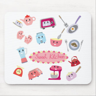 Sweet pink kitchen electricity and tool cute icon mouse pad