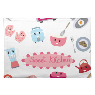 Sweet pink kitchen electricity and tool cute icon placemat