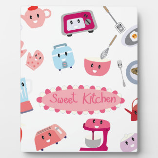Sweet pink kitchen electricity and tool cute icon plaque