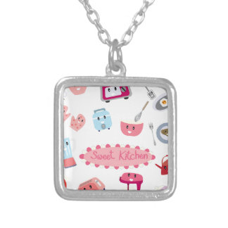 Sweet pink kitchen electricity and tool cute icon silver plated necklace