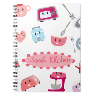 Sweet pink kitchen electricity and tool cute icon spiral notebook