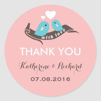 Sweet Pink Love Birds Wedding Favor Sticker