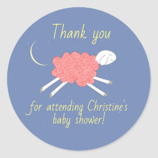 Sweet Pink Lullaby Baby Shower Favor Sticker