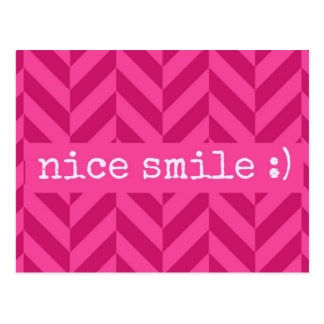 "Sweet Pink ""Nice Smile"" Love Postcard"