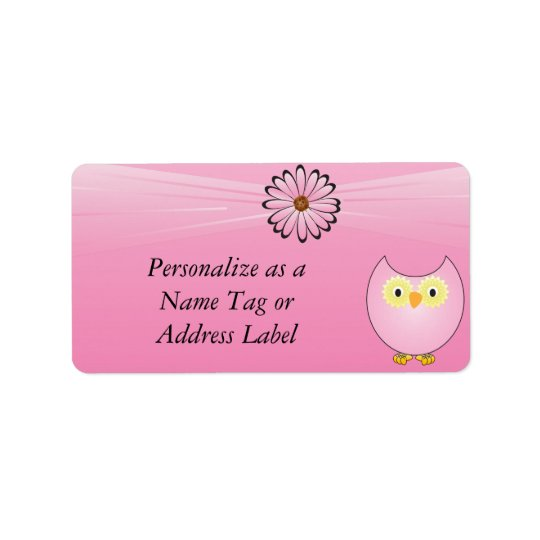 Sweet Pink Owl Label