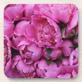 Sweet Pink Peonies Floral Flower Pattern Drink Coasters