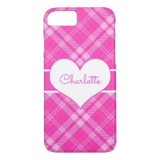 Sweet Pink Plaid n Heart Monogram iPhone 8/7 Case