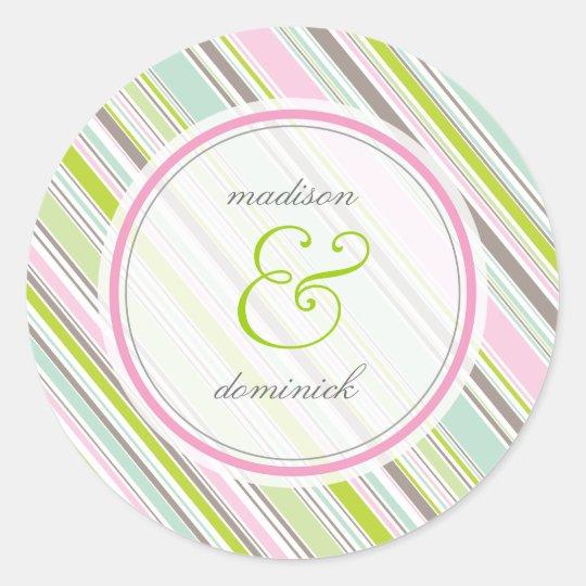 Sweet Pink Preppy Garden Stripes Wedding Sticker