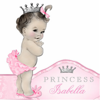 Sweet Pink Princess Baby Girl Standing Photo Sculpture