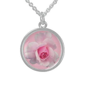 Sweet Pink Roses Pendant Necklace