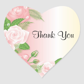 Sweet Pink Roses Thank You Stickers