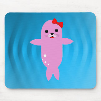 Sweet pink seal mouse pad