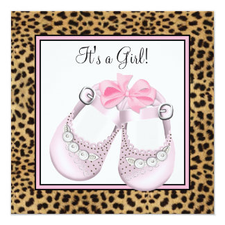 Sweet Pink Shoes Pink Leopard Baby Girl Shower 5.25x5.25 Square Paper Invitation Card