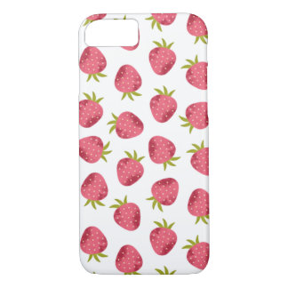 Sweet Pink Strawberry Seamless Pattern iPhone 8/7 Case