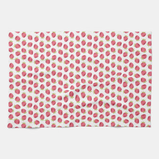 Sweet Pink Strawberry Seamless Pattern Kitchen Towel