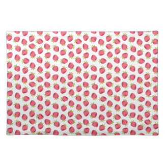 Sweet Pink Strawberry Seamless Pattern Placemat