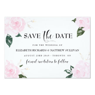 """Sweet Pink Watercolor Roses Save the Date Photo 5"""" X 7"""" Invitation Card"""