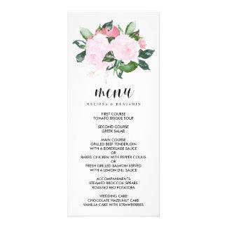 Sweet Pink Watercolor Roses Wedding Menu Rack Cards