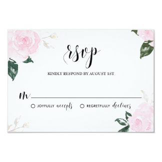 "Sweet Pink Watercolor Roses Wedding RSVP 3.5"" X 5"" Invitation Card"