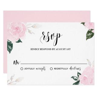 Sweet Pink Watercolor Roses Wedding RSVP Card