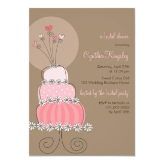 Sweet Pink Wedding Cake Bridal Shower Invitation