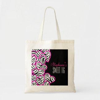 Sweet pink zebra hearts Sweet 16 Birthday Tote bag