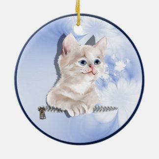 Sweet Pocket Kitten Ceramic Ornament