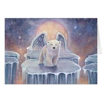 Sweet Polar Bear Cub Angel Wildlife Fantasy Art Card