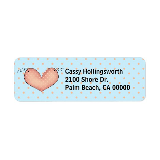Sweet Polka Dots & Heart Return Address Label