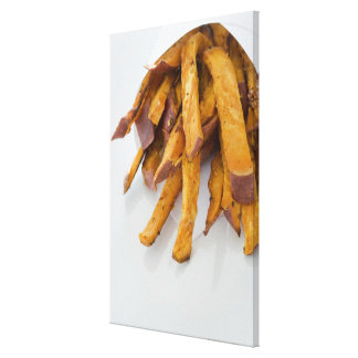 Sweet Potato fries in paper bag, close up, Stretched Canvas Prints