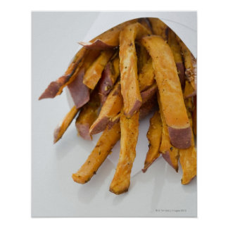 Sweet Potato fries in paper bag, close up, Poster