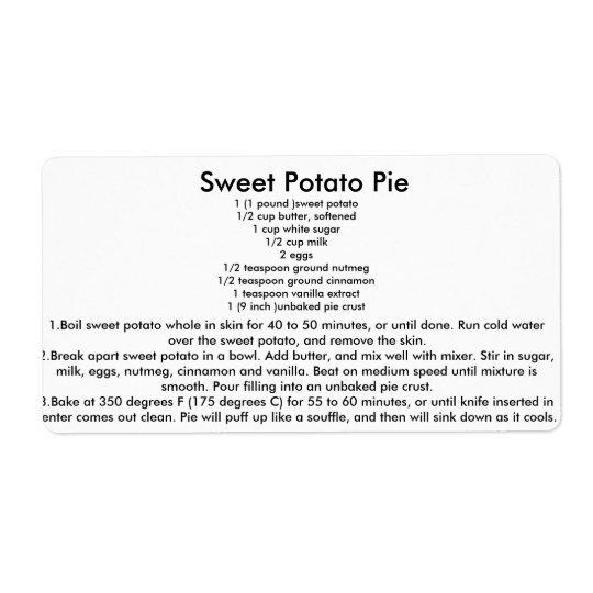 Sweet Potato Pie Recipe Shipping Label