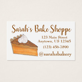 Sweet Potato Pie Slice Bakery Baker Pastry Chef Business Card