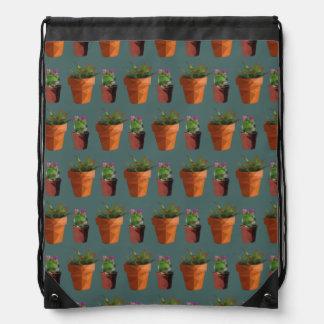 Sweet Potted Geometric Succelents Print Drawstring Bag