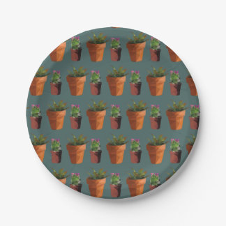 Sweet Potted Geometric Succelents Print Paper Plate