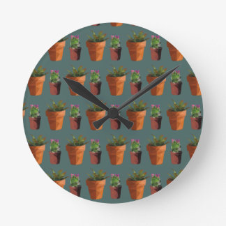 Sweet Potted Geometric Succelents Print Round Clock