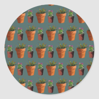 Sweet Potted Geometric Succelents Print Round Sticker