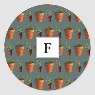 Sweet Potted Succulent Print Customisable Round Sticker