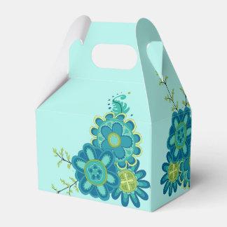 Sweet & Pretty Teal Flowers Favor Box