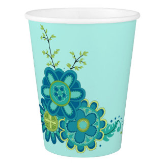 Sweet & Pretty Teal Flowers Paper Cup