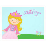 Sweet princess girl's birthday thank you flat card custom announcement