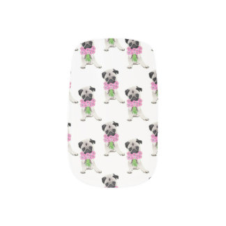 Sweet Pug with Pink FLowers Minx Nail Art