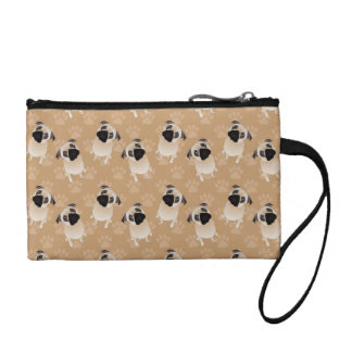 Sweet Pugs on Tan Pawprints Coin Purse