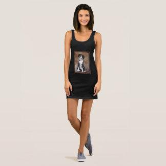 Sweet Pup Jersey Tank Dress- Black/White/Tan