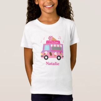 Sweet Purple Pink Ice Cream Truck For Girls T-Shirt